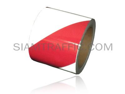 เทปติดพื้นสลับสีสะท้อนแสงขาวแดง